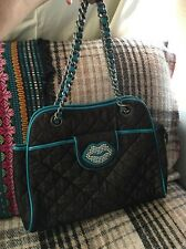 Betsey Johnson Betseyville BlackQuilted Tote Bag Purse Chain Rhinestone Lips GUC