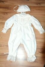 Boys Christening Suit Unisex White Lace & Ribbon Trim + Hat Baptism Romper New