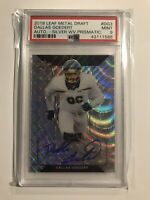 2018 DALLAS GOEDERT PSA 9 LEAF METAL DRAFT SILVER WAVE PRISMATIC AUTOGRAPH
