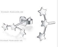 925 Sterling Silver Plated Girls ladies Cute Three Star Stud Earrings Gift Uk