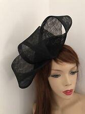 Sombrero de Boda Hatinator Lazo Fascinator De La Negro formal de las Señoras Casco Ascot Carreras