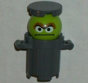 Lego Sesame Street Oscar the Grouch Figure in Grey Trash Can, Genuine Lego Parts