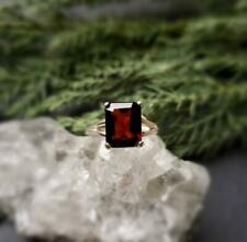 2Ct Emerald Cut Red Garnet Diamond Solitaire Engagement Ring 14K Yellow Gold FN