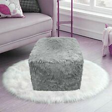 Teddy Cuddles Bean Bag Chunky Pouf Cube Indoor Outdoor Foot Rest Pouffe SILVER