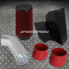 FOR 96-00 CHEVY/GMC GMT400 5.0L/5.7L V8 COLD AIR INTAKE+HEAT SHIELD+RED FILTER