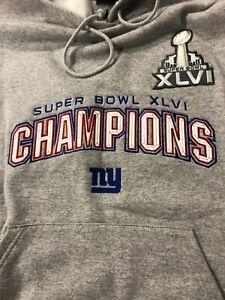 New York Giants Hooded Sweatshirt Hoodie MEN'S    REEBOK NFL GREY CHAMPIONSHIP