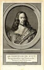 Portrait de Cornelis de Witt - Gravure originale du XVIIIème siècle