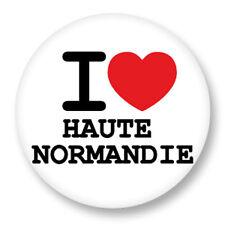 Pin Button Badge Ø38mm ♥ I Love You Haute Normandie Haut-Normand Region