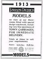1912 Original Antique Lorraine Dietrich 1913 Car Print Ad