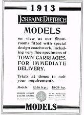 1912 Antique Vintage Original Lorraine Dietrich 1913 Automobile Car Print Ad
