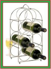 CHROME WIRE WINE ALCOHOL RACK 7-BOTTLE HOLDER STAND BAR KITCHEN WI93WR