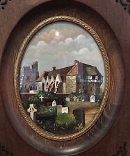Old 20th C Miniature Oil Painting Of Shropshire, Stokesay. Monogrammed FH