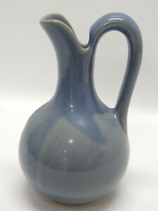 """ALWAYS AZUL POTTERY, COLORADO WIDE-BOTTOMED 12"""" BLUE PITCHER - EUC"""