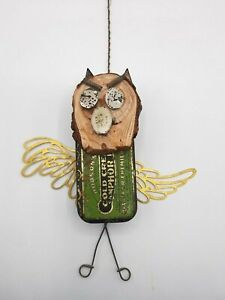 Eclectic Hand Made Found Folk Art Decorative Owl Figurine