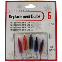 2.5 Volt Christmas Light Bulbs MULTI COLOR For 50 100 + Super Brite 1 Pk 5 2.5v