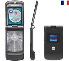NEUF MOBILE TELEPHONE PORTABLE MOTOROLA RAZR V3 NOIR GSM VINTAGE ANCIEN DEBLOQUE