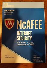 *New McAfee Internet Security 2017 10 Devices 1 Year PC Mac Smartphones Tablet