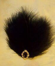 Black Feather & Gold Vintage Diamante 1920s Hair Clip Slide