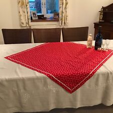 Christmas tablecloth overlay cotton fabric with satin ribbon trim Red Snowflake