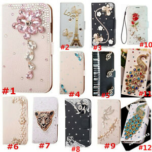 Nice Flip Bling Diamond Wallet Stand Case Crystal PU Leather Cover For iPhone