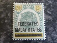 FEDERATED MALAY STATES POSTAGE & REVENUE STAMP SG6 20C MOUNTED-MINT