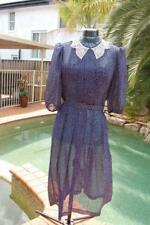 Navy and White Vintage Spotted Dress Size 12 Pre-Loved