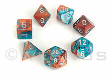 DICE Chessex Gemini COPPER/TEAL 7-Set Marble Shiny d20 d6 26453 Steampunk OOP