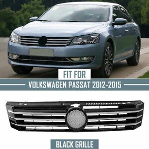 Grille Fit 2012-2015 VW Passat Black w/ Chrome Insert Molding Front Upper Bumper