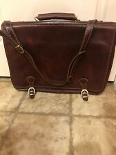 "Alberto Belluci Mens Italian Leather Florence 17"" Laptop Messenger Bag Briefcase"