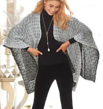 Midnight Velvet Black Silver Cape Sweater Jacket Winter Metallic Ruana One Size