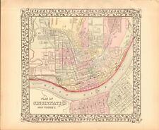 1874 ANTIQUE MAP - USA - PLAN OF CINCINNATI