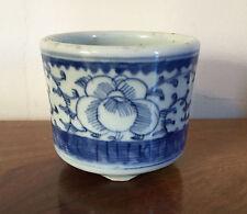 Chinese Porcelain Blue & White Brush Pot Cachepot Planter Flower Pot 19th c.