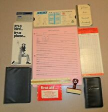 11 Vintage Items from Building Inspector Briefcase: Rubber Stamp and Other Items
