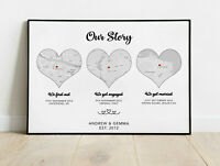 Personalised Heart Maps Word Art Print New Home First Met Couple Valentine Gift