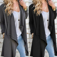 Womens Long Sleeve Knitted Sweater Slouchy Cardigan Jumper Coat Jacket Outerwear