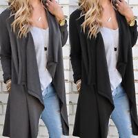 Womens Long Sleeve Waterfall Cardigan Trench Long Coat Duster Jacket Outwear XL