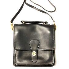 Vintage Coach Station Bag Black Leather Crossbody Saddle Bag
