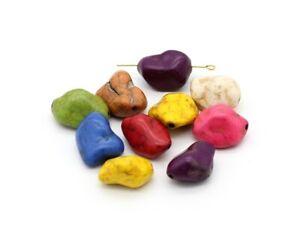 10 Stk. Howlith Perlen natürlich Nuggets Farbmix Schmuckstein Edelstein Perlen