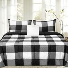 Sweet Home Collection 4 Piece Buffalo Check Plaid Design Reversible to Solid Col