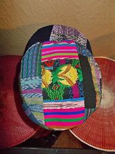 XL Patchwork BoHo Visor Hat. Colorful Embroidered Tapestry. Made in Guatemala