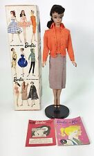 VINTAGE 1960 #4 BARBIE BRUNETTE PONYTAIL #2 STAND & SWEATER GIRL FASHION USED