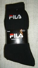 FILA 3 pr Athletic/Casual Cushioned Mens socks Crew Black Cotton Rich Solid 6-12