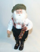 """Leiderhosen Santa Swiss Bells Figurine 7"""" Plastic"""