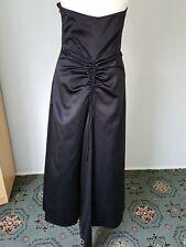 Debut Evening Maxi Full Length Ballgown Party Satin Black Lined Net Dress Sz 12