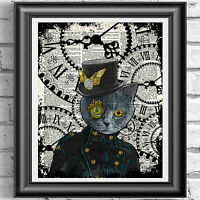 Blue Cat  Steampunk Vintage Dictionary Page Print Wall Art Picture Animal Kitten