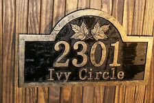 Custom Carved Address Sign with Maple Leaves