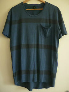 MEN'S LEE BLUE COTTON T-SHIRT WITH FADED BLACK HORIZONTAL STRIPES SIZE S - NWOT