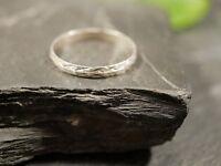 Top 925 Silber Ring Dünn Unisex Damen Herren Modern Elegant Muster Struktur