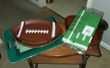 Lot of (8) Crofton Football Serving Platters, Bowls, Trays, Tablecloth used MINT