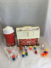Vintage 1967 Fisher Price Play Family Farm Barn Animals Silo Little People Sound